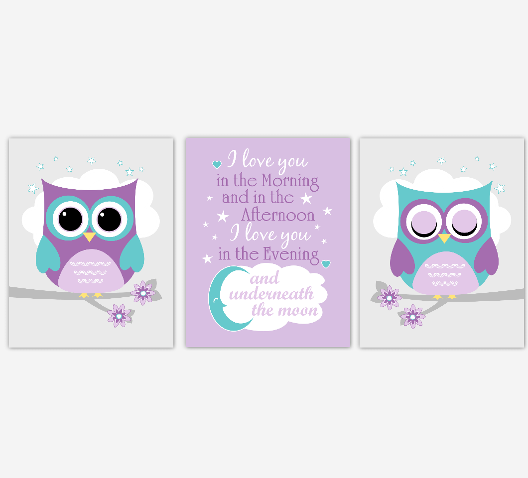 Baby Girl Nursery Wall Art Purple Teal Owls Prints Baby Nursery Decor SET OF 3 UNFRAMED PRINTS