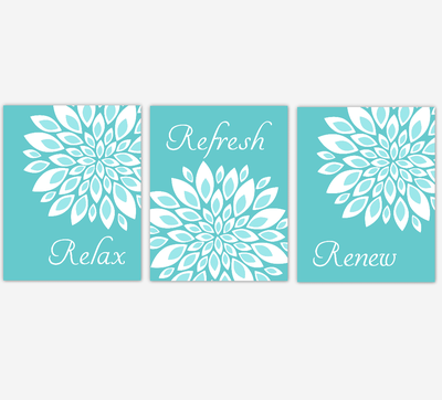 Floral Bathroom Wall Art Prints Dahlia Mum Flowers Teal Aqua White Spa Bath Adult Bathroom Decor SET OF 3 UNFRAMED PRINTS