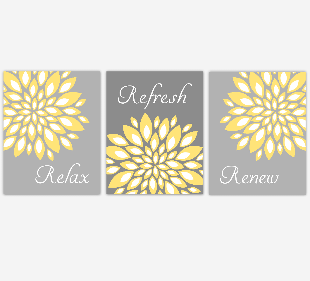 Floral bathroom wall art yellow gray flower burst dahlia mums spa bath rules home decor set