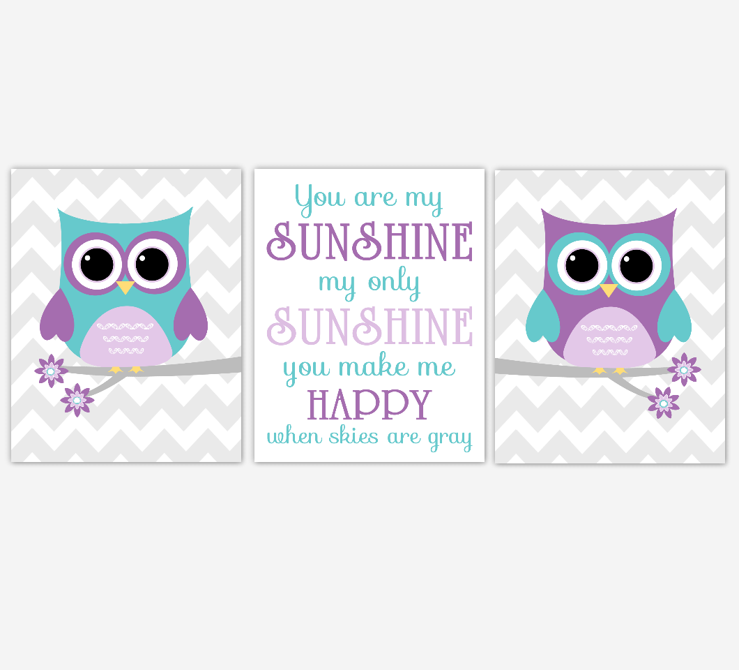 Purple Teal Owl Baby Nursery Wall Art Dahlia Mum Flower You Are My Sunshine Baby Nursery Decor SET OF 3 UNFRAMED PRINTS 01953