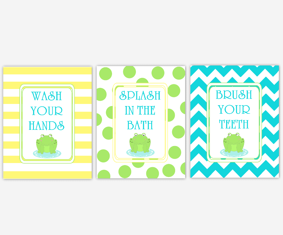 Kids Baby Bath Wall Art Frogs Wash Your Hands Brush Your Teeth Splash In The Bath Yellow Green Blue Chevron Bath Art for Kids Bathroom SET OF 3 UNFRAMED PRINTS or CANVAS 00090