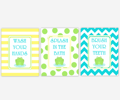 Kids Baby Bath Wall Art Frogs Wash Your Hands Brush Your Teeth Splash In The Bath Yellow Green Blue Chevron Bath Art for Kids Bathroom SET OF 3 UNFRAMED PRINTS or CANVAS