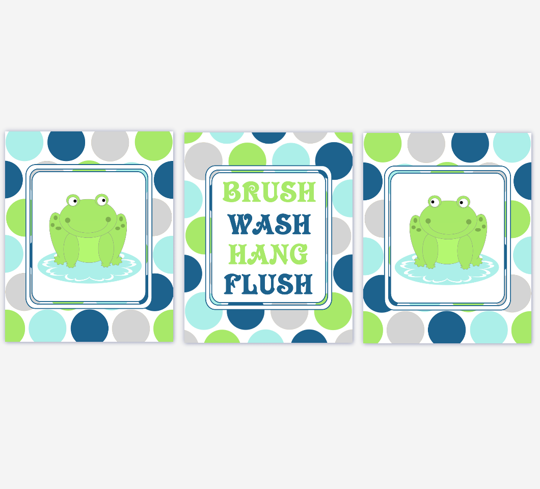 Kids Bath Wall Art Frogs Green Blue Gray Grey Brush Your Teeth Hang Your Towel Wash Your Hands Flush Bath Art For Kids Bathroom 00092