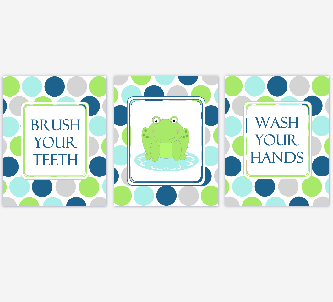 Kids Bath Wall Art Frog Frogs Green Navy Blue Gray Grey Wash Your Hands Brush Your Teeth Wall Art Prints For Children's Bathroom
