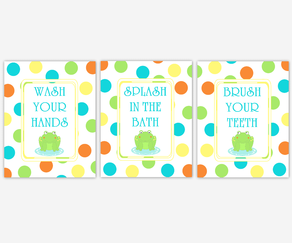 Kids Bathroom Wall Art Frogs Polka Dots Wash Your Hands Brush Your Teeth Bath Art for Childrens Bathroom Bath Rules Prints Art for Kids 00218