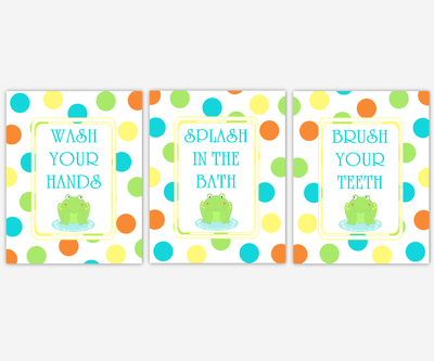 Kids Bathroom Wall Art Frogs Polka Dots Wash Your Hands Brush Your Teeth Bath Art for Childrens Bathroom Bath Rules Prints Art for Kids