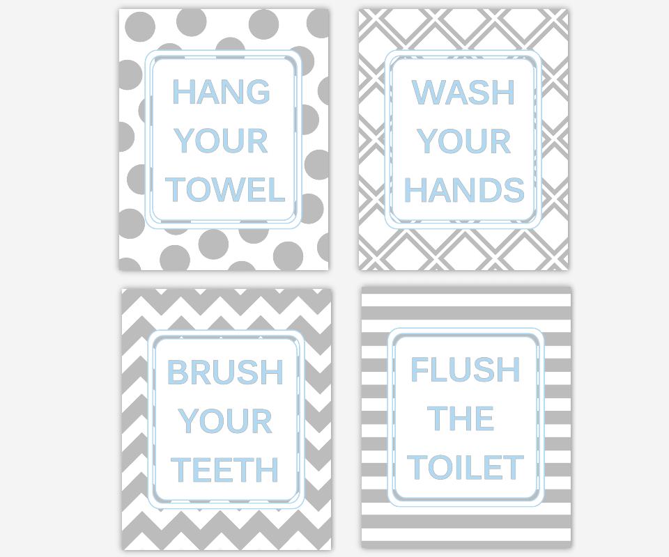 Kids Bath Wall Art Blue Gray Wash Your Hands Brush Your Teeth Hang Your Towel Flush The Toilet Boys Bath Decor