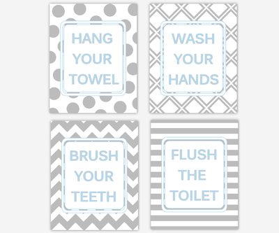Kids Bath Wall Art Blue Gray Wash Your Hands Brush Your Teeth Hang Your Towel Flush The Toilet Boys Bath Decor