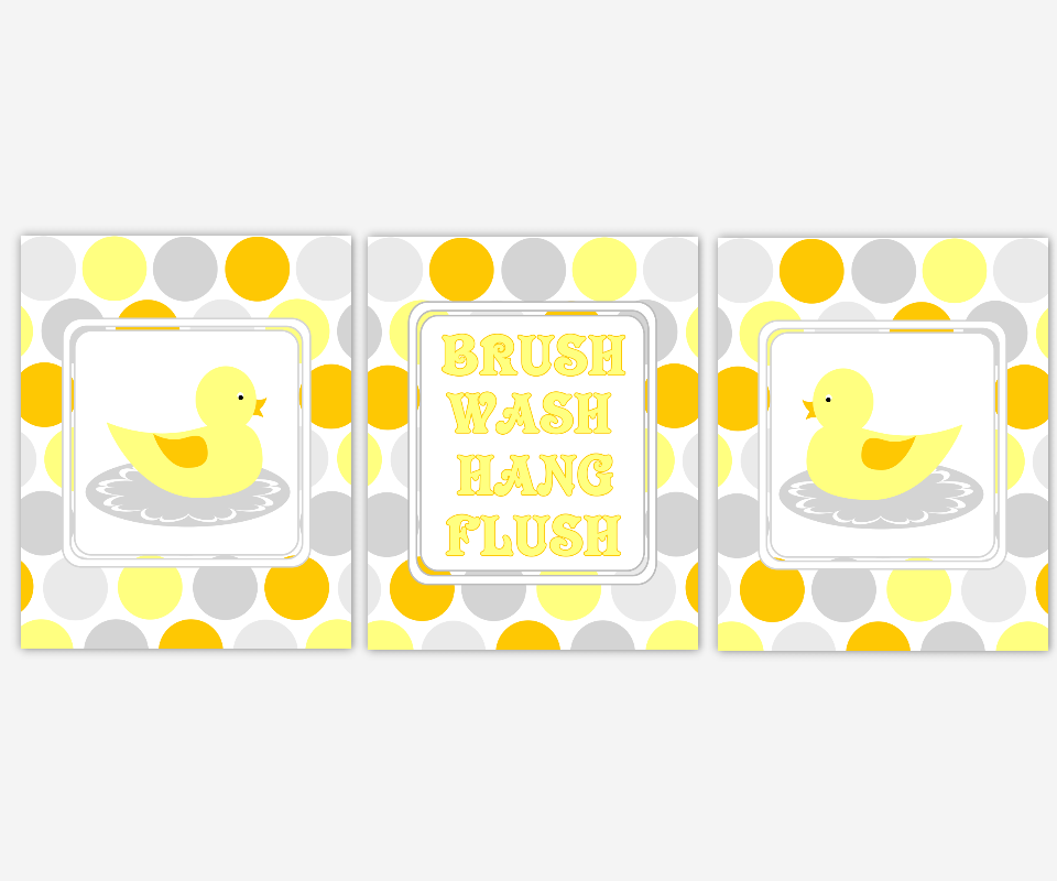 Kids Rubber Duck Ducky Bath Prints Wash Your Hands Brush Your Teeth Hang Your Towel Yellow Orange Gray Grey Duck Bath Prints for Childrens 00295