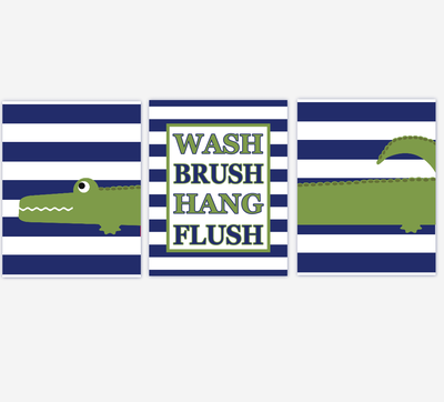 Kids Bath Wall Art Alligator Green Navy Blue Wash Brush Hang Flush Bathroom Rules Alligator Bath Decor Boys Bath Wall Art Kid Bath Decor Art