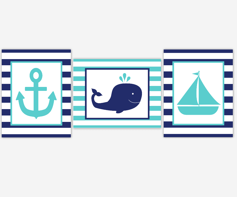 Nautical Baby Boy Nursery Wall Art Navy Teal Turquoise Boat Anchor Whale Boy Room Wall Decor Nautical Wall Decor Baby Boy Nursery Decor Art SET OF 3 UNFRAMED PRINTS 00615
