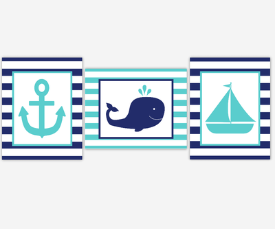 Nautical Baby Boy Nursery Wall Art Navy Teal Turquoise Boat Anchor Whale Boy Room Wall Decor Nautical Wall Decor Baby Boy Nursery Decor Art SET OF 3 UNFRAMED PRINTS
