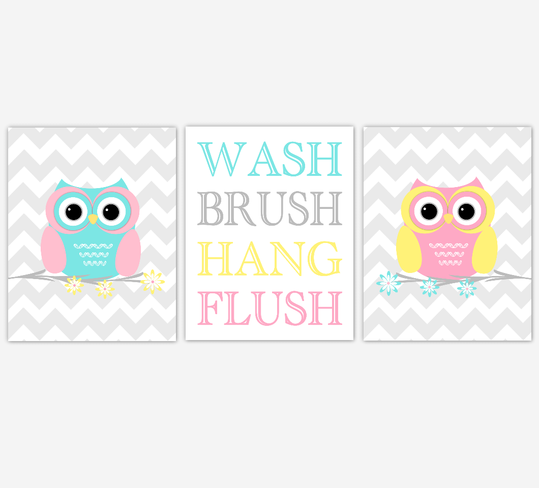 KIDS Bath Wall Art OWL Bath Prints Wash Brush Hang Flush Owl Nursery Decor Children Bathroom Prints Owl Bath Decor Yellow Pink Aqua Bath Art SET OF 3 UNFRAMED PRINTS