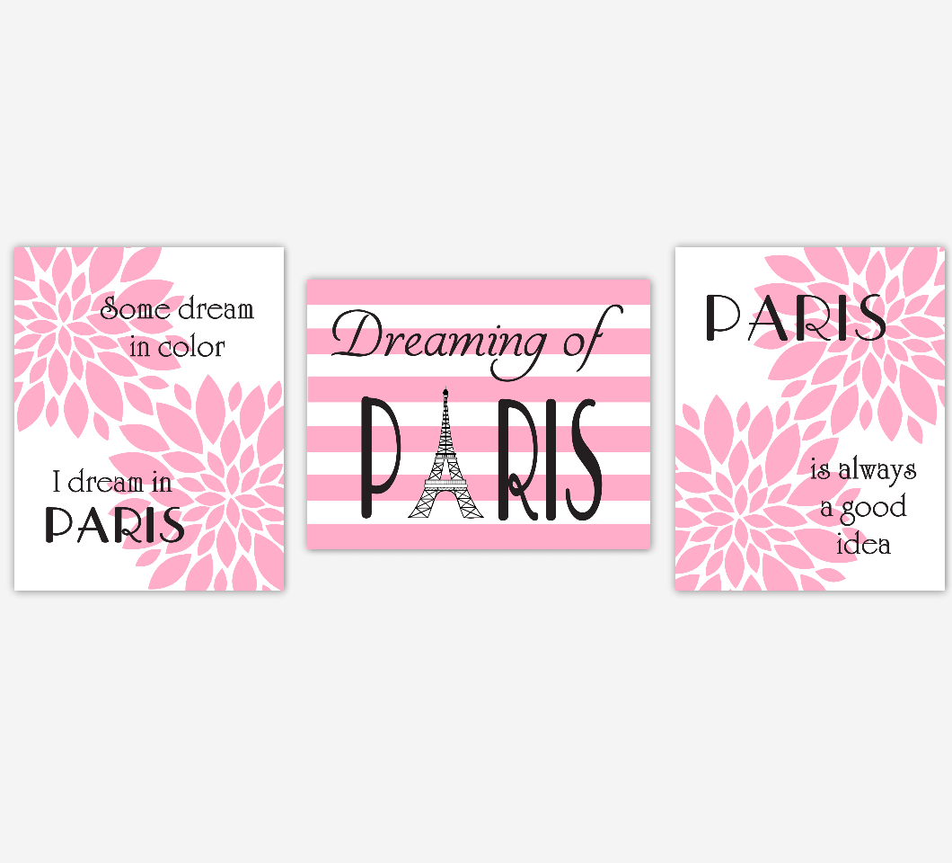 Paris Girl Room Wall Art Pink Black Paris Is Always A Good Idea