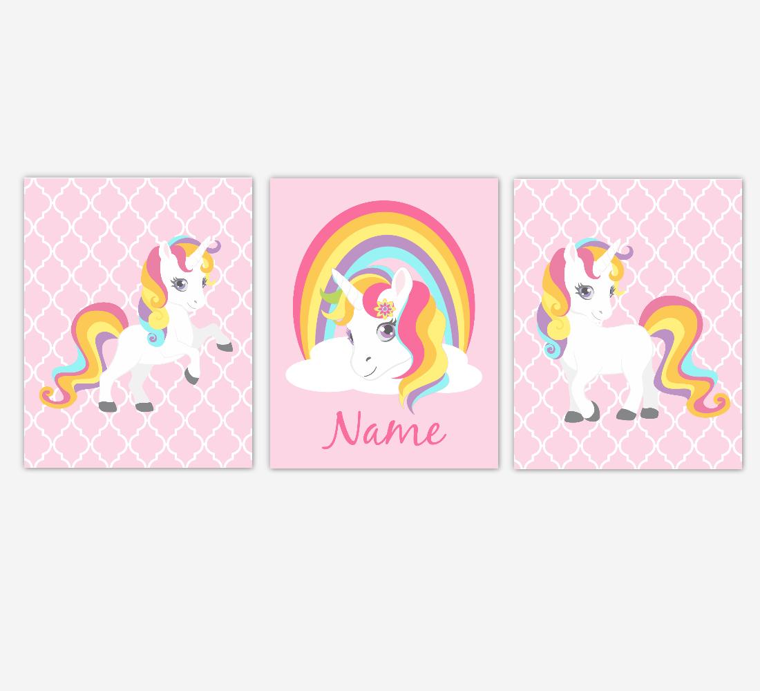 Rainbow Unicorn Wall Art Girl Bedroom Art Unicorn Baby Nursery Decor Art Prints Personalized Prints SET OF 3 UNFRAMED PRINTS