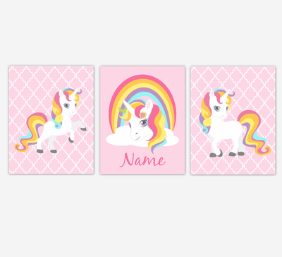 Rainbow Unicorn Wall Art Girl Bedroom Art Unicorn Baby Nursery Decor Art Prints Personalized Prints SET OF 3 UNFRAMED PRINTS