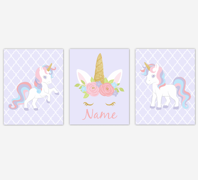 Unicorn Wall Art Girl Bedroom Pink Purple Blue Unicorn Baby Nursery Decor Art Prints Personalized Prints SET OF 3 UNFRAMED PRINTS