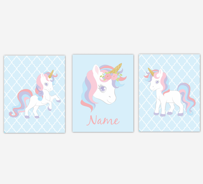 Unicorn Wall Art Girl Bedroom Pink Purple Blue Unicorn Baby Nursery Decor Art Prints Personalized Prints SET OF 3 PRINTS OR CANVAS