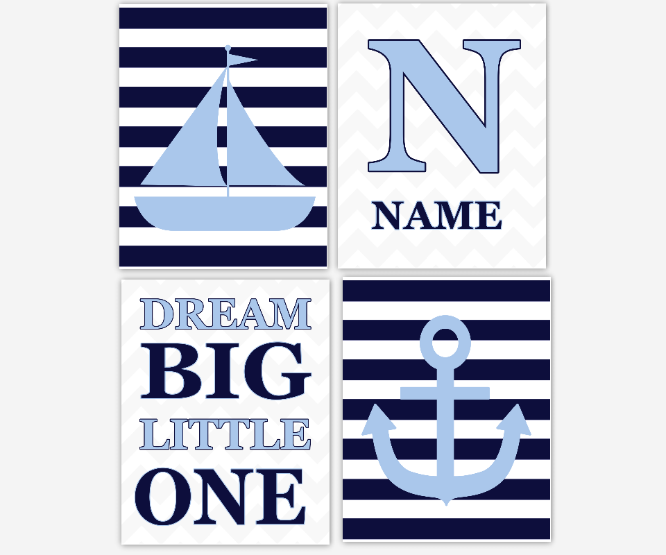 BLUE Baby Boy Nursery Art Nautical Blue Gray Navy Sailboat Anchor Personalized Art Monogram Name Prints Dream Big Baby Boy Prints Baby Nursery Decor Nautical SET OF 4 UNFRAMED PRINTS OR CANVAS