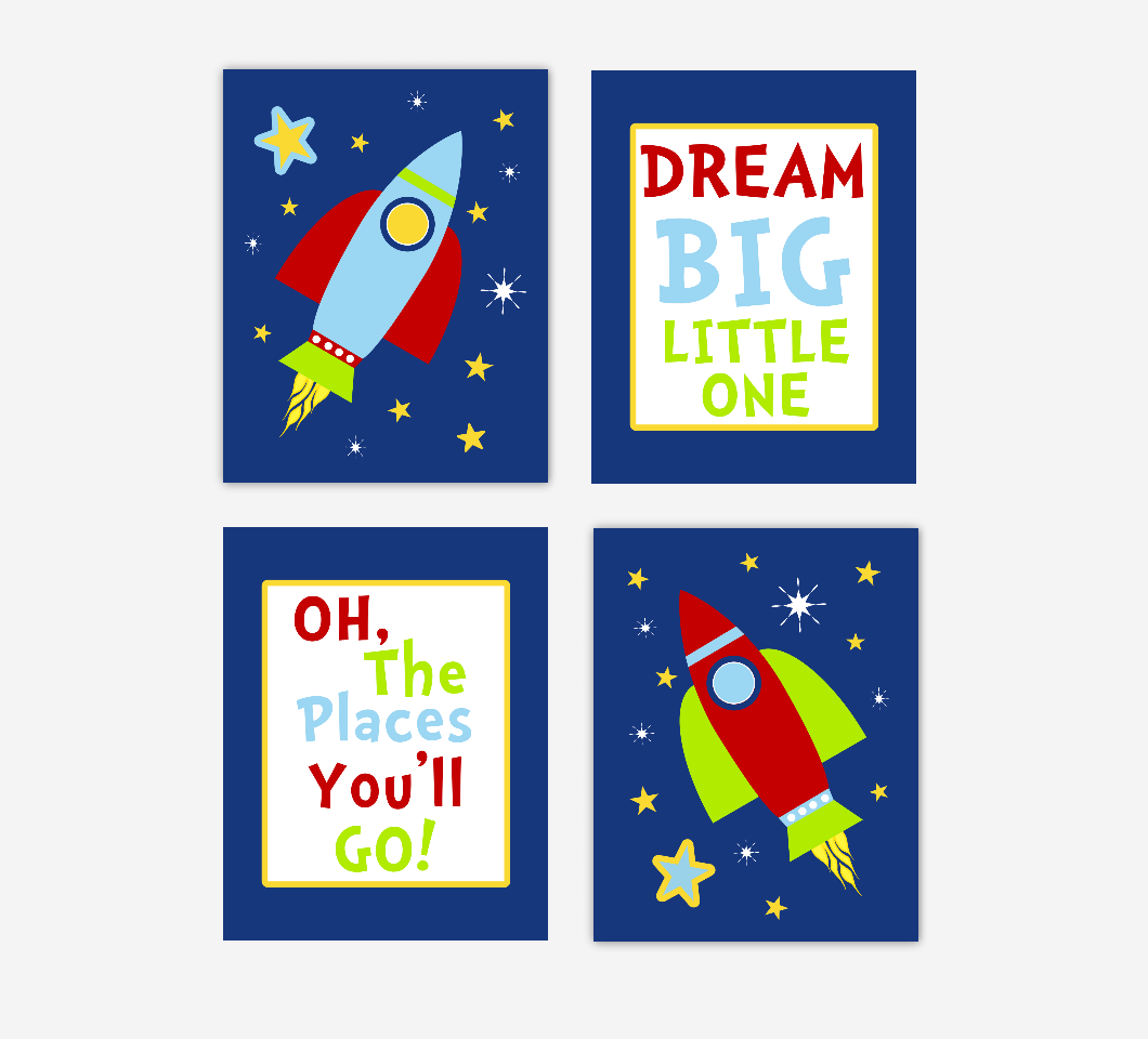 Baby Boy Nursery Wall Art Space Theme Rocket Ship Spaceship Personalized Name Dream Big Little One Baby Nursery Decor SET OF 4 UNFRAMED PRINTS 01133