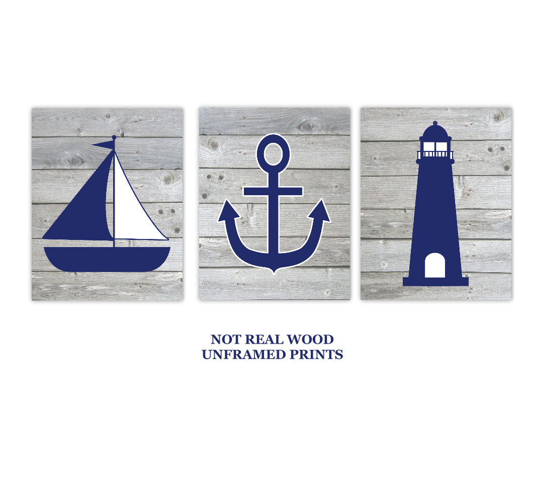Nautical Wall Art Navy Blue Gray Sailboat LIghthouse Anchor Baby Boy Nursery Bath Prints Rustic Wood SET OF 3 UNFRAMED PRINTS 01027