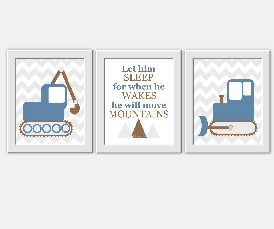 Baby Boy Nursery Wall Art Construction Vehicles Let Him Sleep For When He Wakes He Will Move Mountains Blue Grown Chevron Prints for Baby Boy Nursery Boys Room Decor