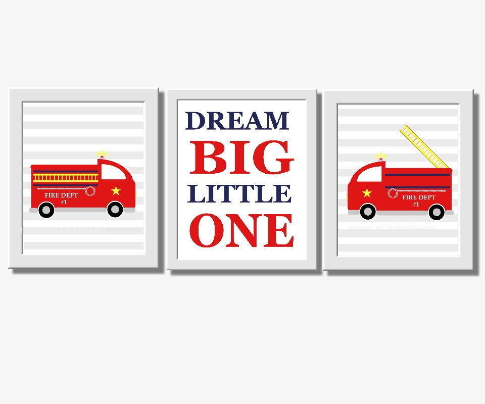 Baby Boy Nursery Wall Art Firetruck Fire Trucks Dream Big Little One Red Yellow Blue Gray Wall Art for Boys Room Decor
