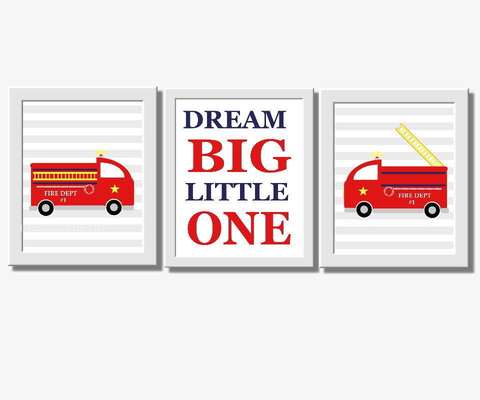 Baby Boy Nursery Wall Art Firetruck Fire Trucks Dream Big Little One Red Yellow Blue Gray Wall Art for Boys Room Decor 00129