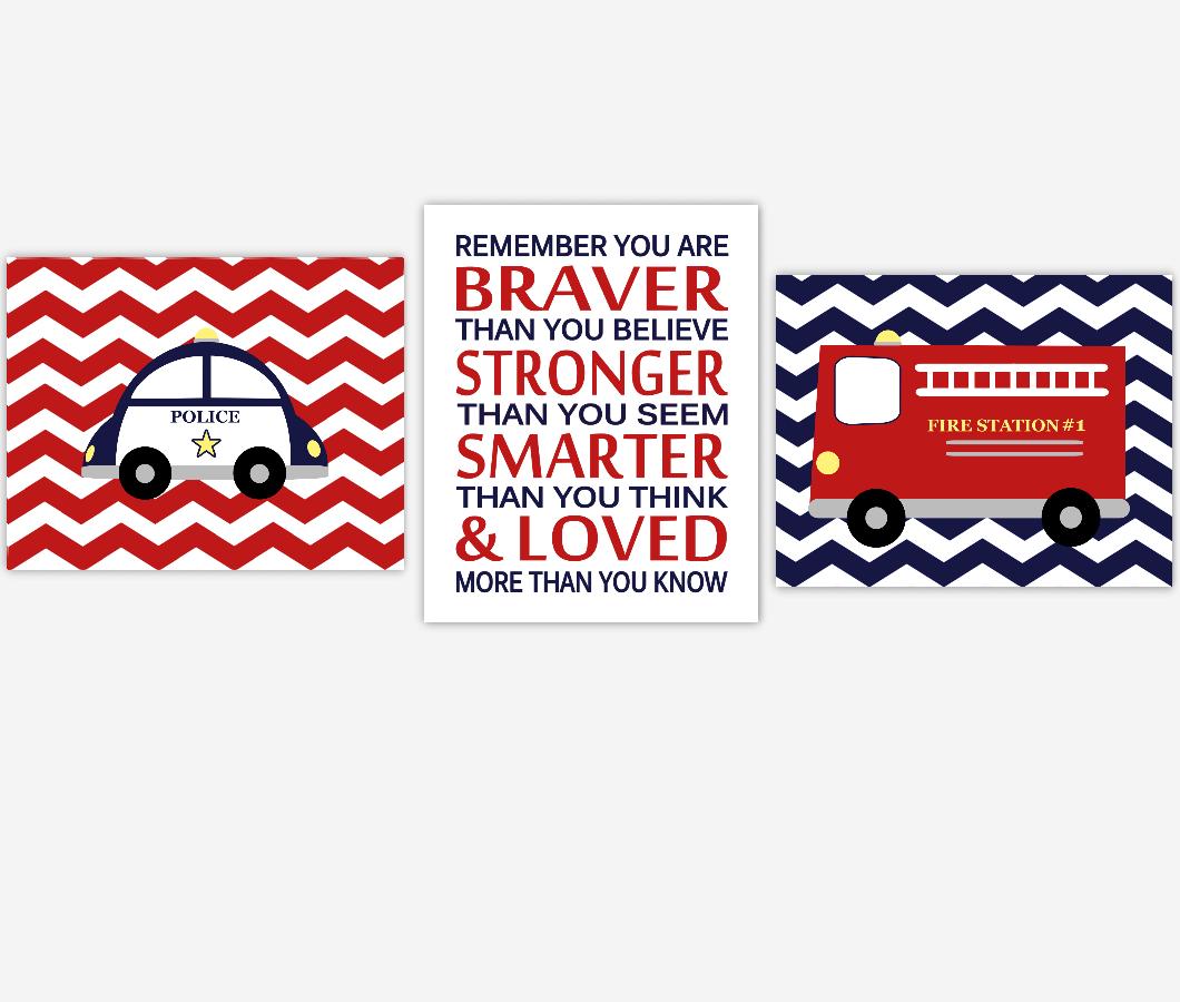 Baby Boy Nursery Wall Art Firetruck Police Car Navy Blue Red Remember You Are Braver Toddler Boy Bedroom Prints SET OF 3 UNFRAMED PRINTS 01135