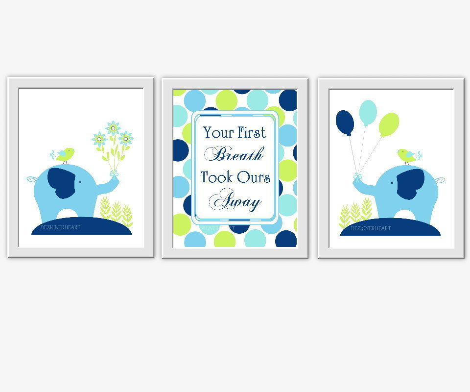 Baby Boy Nursery Wall Art Navy Blue Green Elephants Your First Breath Took Ours Away Quotes For Baby Nursery Prints For Boys Room Wall Decor Safari