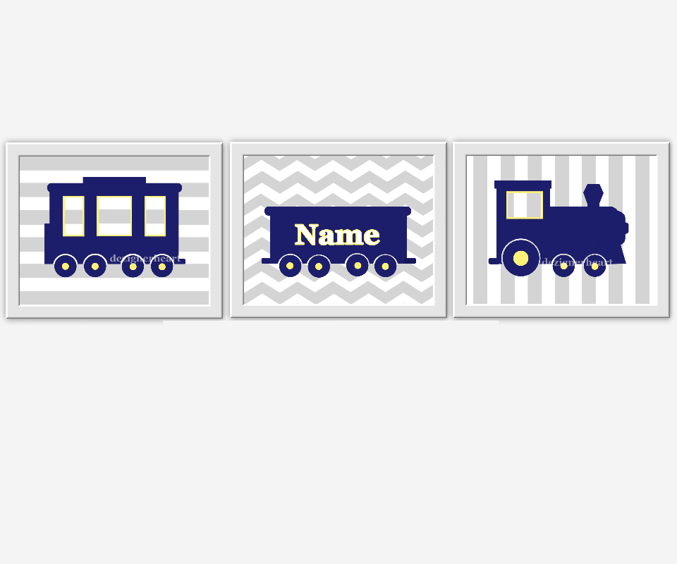 Baby Boy Nursery Wall Art Navy Blue Train Personalized Art Boy Room Wall Decor Train Nursery Decor Yellow Blue Boy Room Wall Art Boy Nursery