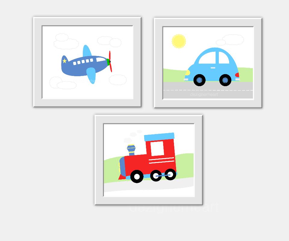 Baby Boy Nursery Wall Art Trains Planes Airplanes Car Transportation Prints Art For Boys Room Decor Toddler Boy Prints Playroom Art Baby Nursery Decor