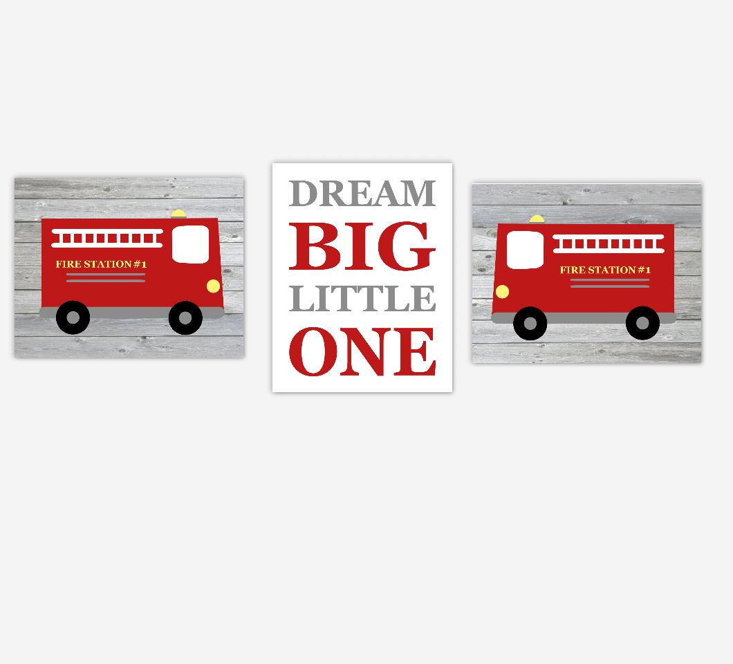 Fire Truck Baby Boy Nursery Wall Art Dream Big Little One Baby Nursery Decor SET OF 3 UNFRAMED PRINTS 01168
