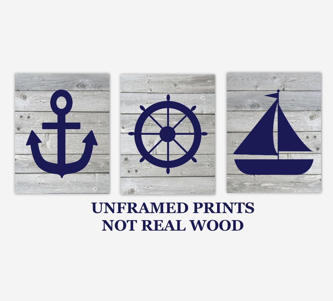 Nautical Baby Boy Nursery Wall Art Navy Blue Gray Rustic Wood Farmhouse Sailboat Anchor Captains Wheel Bath Prints SET OF 3 UNFRAMED PRINTS 01155