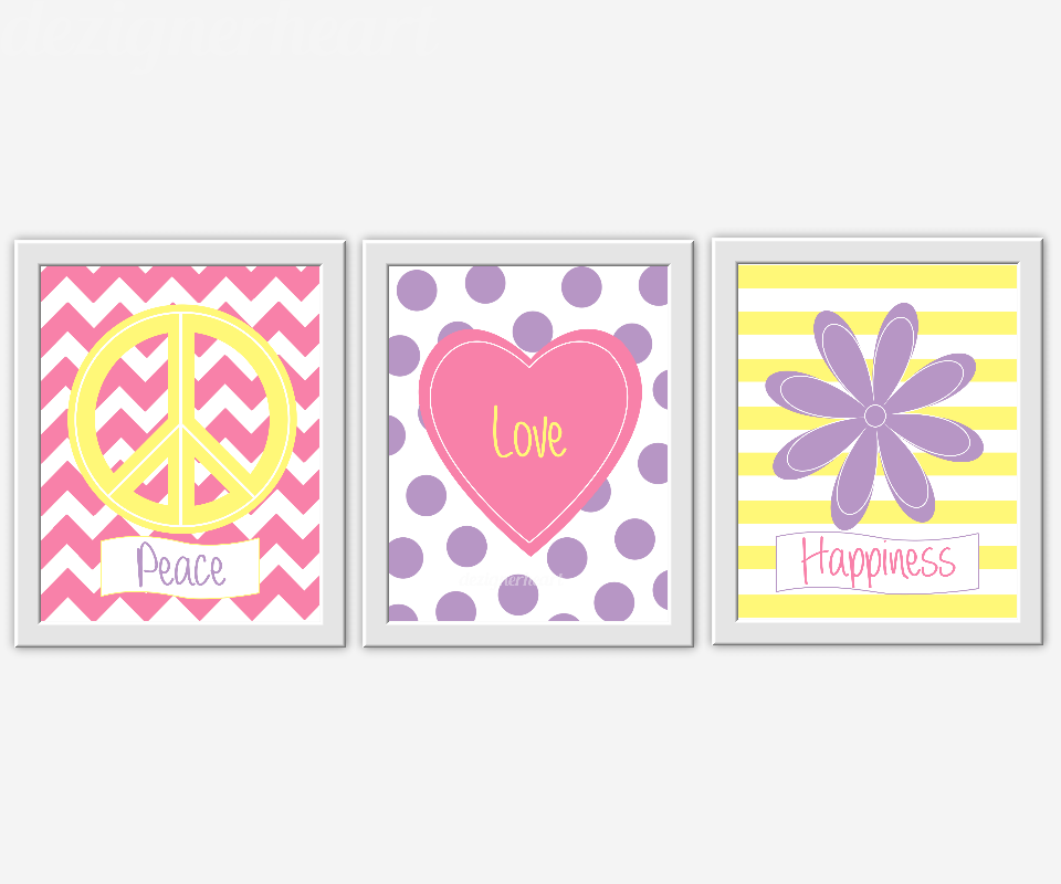 PINK Girls Room Wall Art Baby Nursery Decor Peace Love Happiness Flowers  Heart Peace Sign Pink Yellow Lavender Purple Home Decor Floral Wall Art  Girls ...