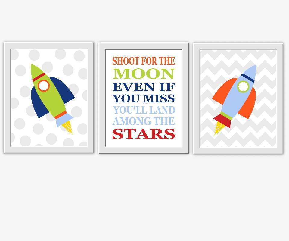 Baby Nursery Wall Art Space Spaceship Rocket Shoot For The Moon Quotes For Boys Room Wall Art Prints Decor SET OF 3 UNFRAMED PRINTS