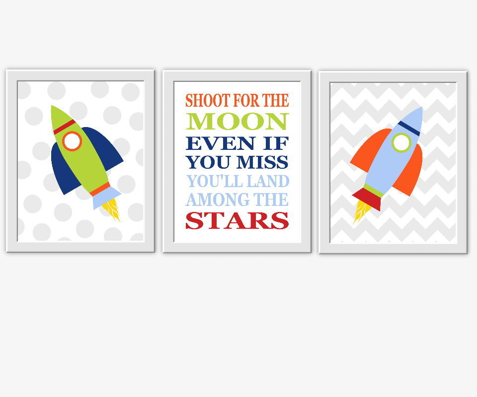 Baby Nursery Wall Art Space Spaceship Rocket Shoot For The Moon Quotes For Boys Room Wall Art Prints Decor SET OF 3 UNFRAMED PRINTS 00133