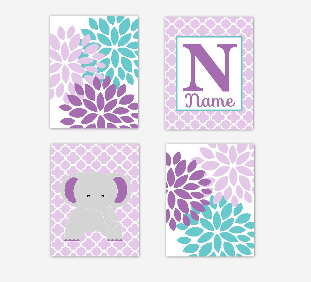 Purple Teal Baby Girl Nursery Art Flower Burst Dahlia Mums Elephants Jungle Safari Zoo Personalized Prints Baby Nursery Decor