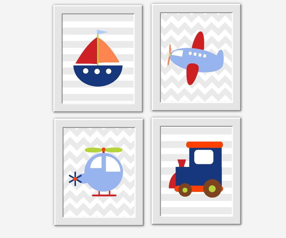 Tranportation Baby Boy Nursery Wall Art Sailboat Plant Train Helicopter Toddler Boys Room Decor Wall Art 00136