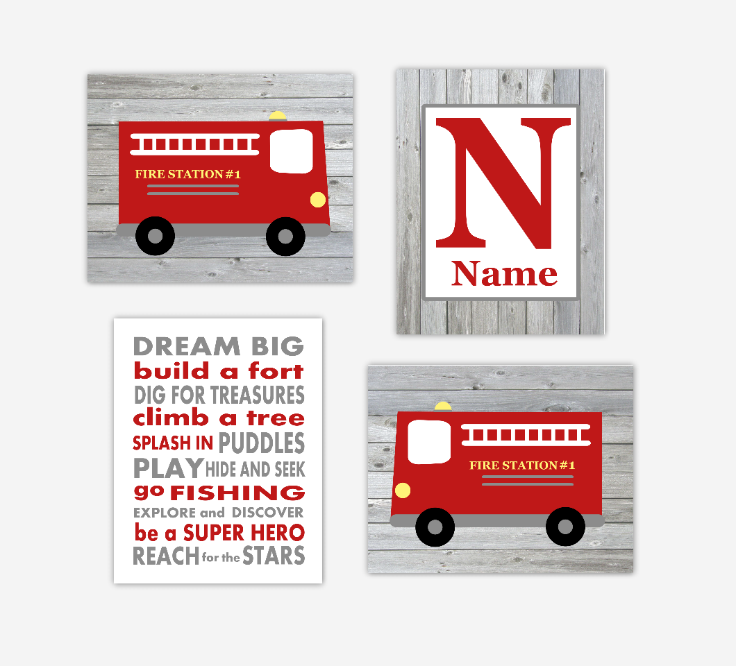 Fire Truck Baby Boy Nursery Art Personalized Name Print Dream Big Little One Baby Nursery Decor SET OF 4 UNFRAMED PRINTS 01166