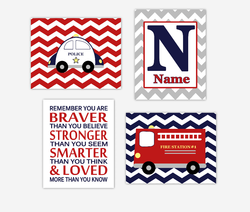 Baby Boy Nursery Wall Art Fire Truck Police Car Personalized Name Remember You Are Braver Quote Baby Nursery Decor SET OF 4 UNFRAMED PRINTS
