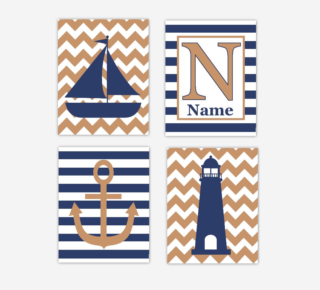 Nautical Baby Boy Nursery Art Navy Blue Sailboat Lighthouse Anchor Personalized Art Baby Nursery Decor SET OF 4 UNFRAMED PRINTS 01114