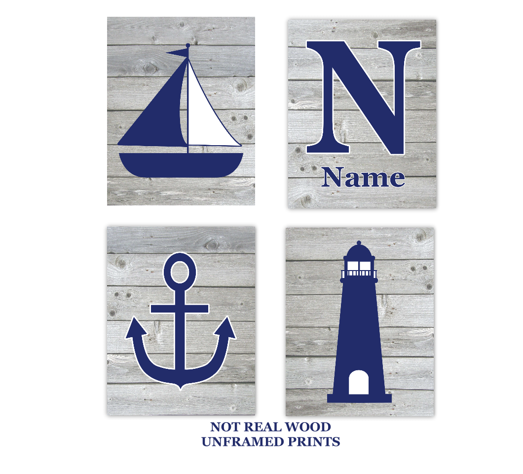 Nautical Baby Nursery Wall Art Sailboat Lighthouse Anchor Personalized Name Wood Rustic Baby Nursery Decor SET OF 4 UNFRAMED PRINTS 01109
