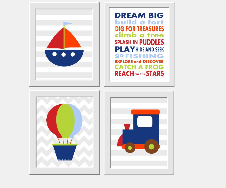 Nautical Baby Boy Nursery Wall Art Transportation Sailboat Train Dream Big Little One Toddler Boys Room Decor Prints for Boys 00206