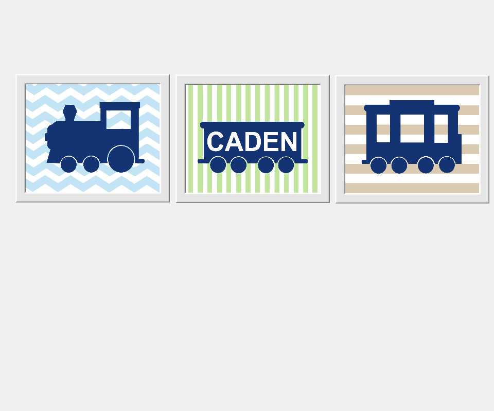 Personalized Baby Nursery Wall Art Train Blue Green Beige Choo Choo Name Wall Art Playroom Boys Room Toddler Boy Prints Bedroom Home Decor SET OF 3 UNFRAMED PRINTS