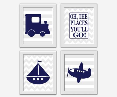 Baby BOY Nursery Wall Art Navy Blue Gray Train Boat Plane Sailboat Airplane Baby Boy Nursery Decor Boy Bedroom Art Oh the Places You'll Go Winnie The Pooh Baby Boy Decor Toddler Room Decor