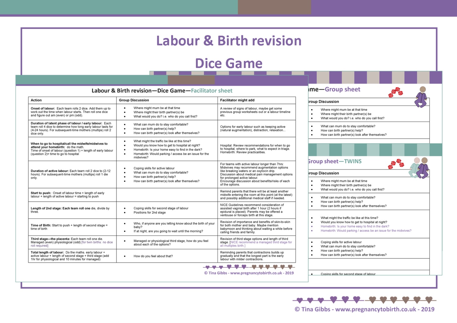 Labour & Birth Revision Dice Game