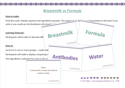 ​Breastmilk vs Formula - compare the ingredients (card sort)