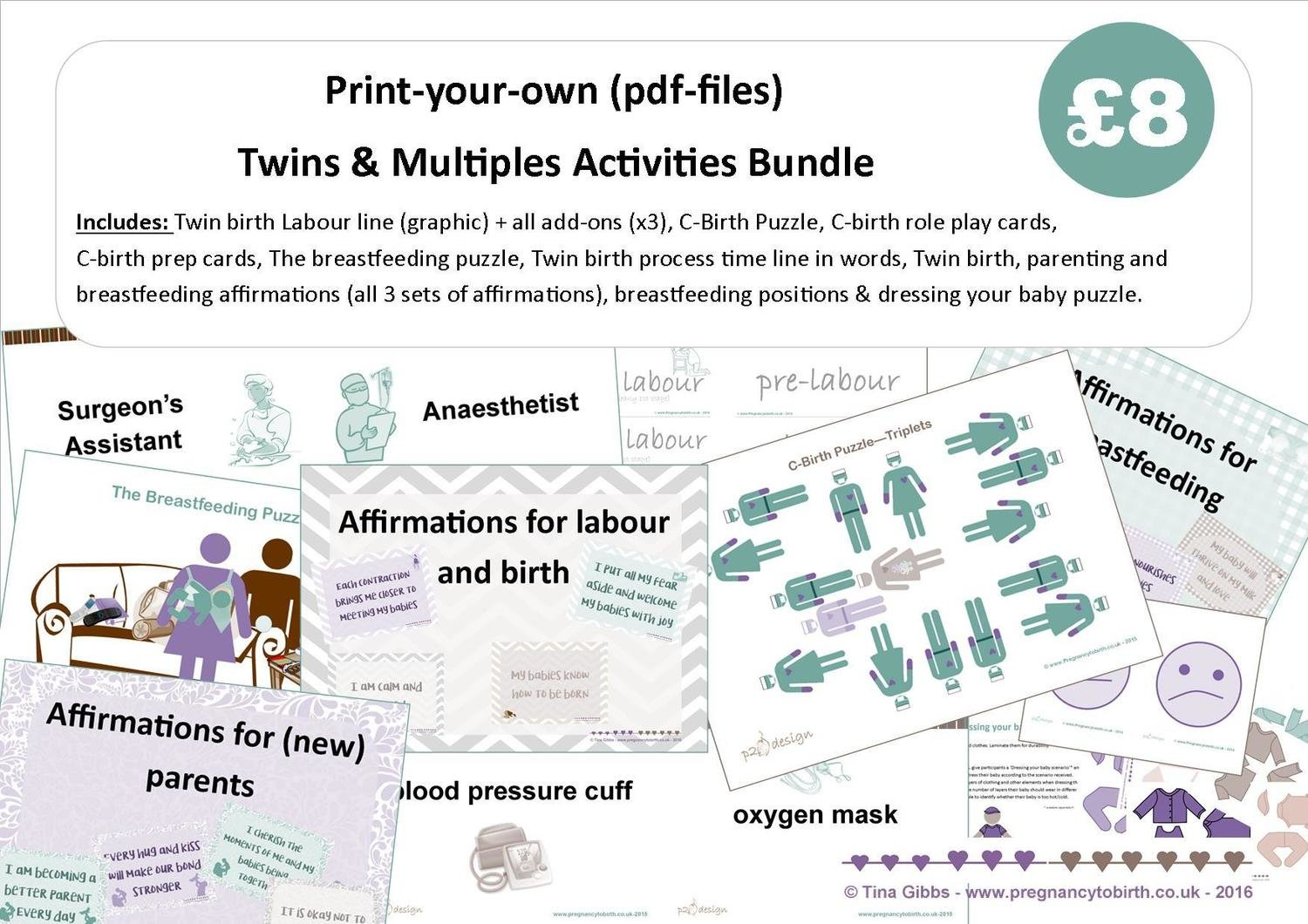 Twins & Multiples Activities Bundles (zip file containing pdf files)
