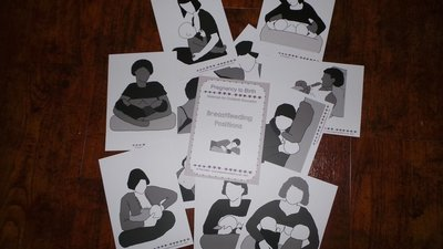 Breastfeeding Positions - large 12.7 x 17.8cm cards + bf positions pdf handout